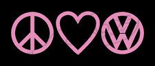 Peace Love VW Pink VINYL STICKER DECAL VOLKSWAGEN GTI JETTA GOLF BEETLE BUG BUS