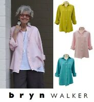 BRYN WALKER Light Linen BOYFRIEND SHIRT Big Pocket Blouse 1X 2X 3X SPRING 2017