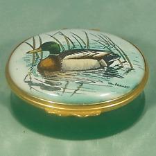 Halcyon Days Mallard Duck Male Reeds Waterway Enamel Trinket Box Mint V Bennett