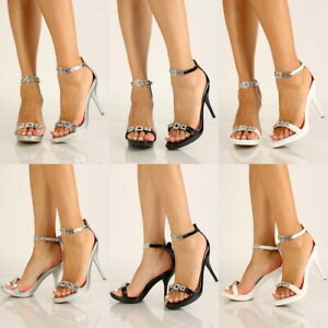Prom Wedding Open Toe Rhinestone ankle Strap High Stiletto Heel Sandals Size