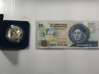 Central Bank of the Bahamas One Dollar Note Portrait of Columbus & $5 Mint Coin