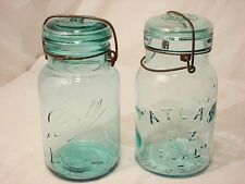 2 Old Blue Ball & Atlas Wire Bail Top Canning Jars Fruit Mason Clear 1qt Size