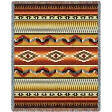 Southwest Geometric Flame Woven Art Tapestry Throw 3868-T Made in USA
