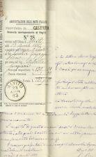 Lettera e Vaglia al Senatore Giuseppe Pica - Brigantaggio nel Mezzogiorno 1883