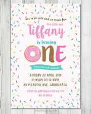SPRINKLES DONUT 1ST BIRTHDAY PARTY ONE PERSONALISED INVITATIONS INVITES CARDS