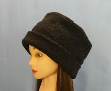 Pillbox Hat Solid Black Looped Wool Warm Winter Hat Anti Itch Moisture Wicking