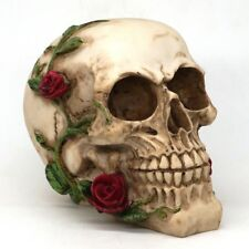 "5.5"" Romantic Love Skull with Red Roses Skeleton Figurine Halloween Table Decor"