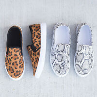 Womens Summer Leopard Printed Slip On Snake Skin Shoes Platform Sneakers Loafers