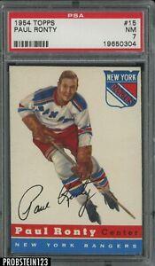 1954 Topps Hockey #15 Paul Ronty New York Rangers PSA 7 NM