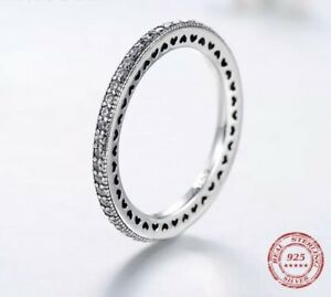 Sparkling Band Stacking Ring Genuine 925 Sterling Silver Sizes 54 56 60