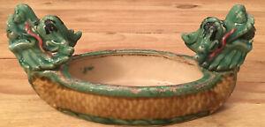 "Vintage Dragon Boat Ceramic Planter Majolica Style Art Pottery 14"""