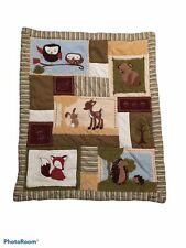 Eddie Bauer Nursery Crib Quilt Enchanted Forest Animals Bedding Fox Owl Hedgehog