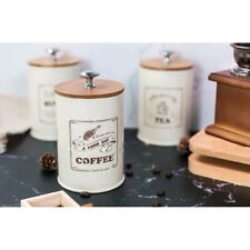 3-Piece Kitchen Canister Set - Coffee, Sugar, And Tea Storage Container Jar With