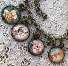 CUTEST KEWPIES EVER Altered Art GLASS DOME CHARM BRACELET from VINTAGE IMAGES