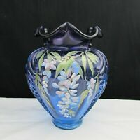 Fenton Mulberry Wisteria Showcase Dealer Hand Painted LE Feather Vase 1997 W142