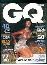 GQ ITALIA 48 SETTEMBRE 2003 NAOMI CAMPBELL CALCIO A LONDRA MICHEL COMTE HULK