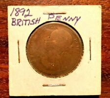 1892 British Penny / One Cent Coin / Queen Victoria