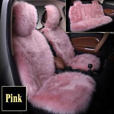 Pink Premium Quality Sheepskin Car Long Wool Seat Cover Pad Mat Full Set 5-seat
