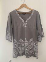 Ladies Blouse BCBG Maxazria Grey L 14 Long Sleeve Cotton Blend <JS52