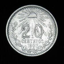 1907 Mexico 20 Centavos silver coin straight 7 KM#435 high grade Estados Unidos