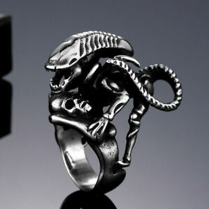 Alloy Cuff Ring Wide Alien Ring Antique Silver Size 10 Adjustable 20mm P448