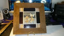 """STAINED GLASS WINDOW HANGING W/PRESSED FLOWERS WOOD FRAME 11 1/4"""" X 11 1/4'"""