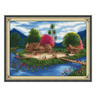 Stamped Landscape Pre Printed Cross Stitch Kit for Teen Girls 11CT Counted