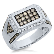 Mens 1.02 CT 14K White Gold Natural Round Cut Champagne White Diamond Mans Ring