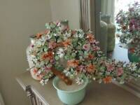 "vintage glass flowering BONSAI TREE in celadon pot 28"" across x 19"" tall"