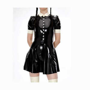 Black PVC lockable Sissy Maid Dress cosplay costume Tailor-made new