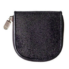 Genuine Stingray Skin Leather Women Coin Purse Pouch Change Wallet Classic Black