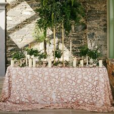 Fabulous ROSE GOLD Vine Tablecloth Sequin Embroidered Table Overlay For Party