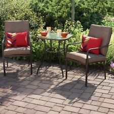 3 Piece All Weather  Outdoor   Furniture Patio Set Glass Top Table, 2 Chairs