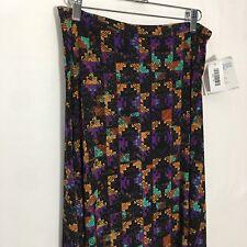LuLaRoe Maxi Skirt XS Black Geometric Aztec Purple Green Gold Pixelated