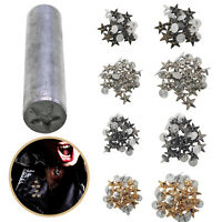 50pcs Brass Star Studs with Hand Tool Set for DIY Clothing Leather Jacket Purses