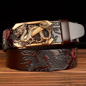 Men Genuine Leather Belt Automatic Buckle Dragon Designer Western Cowboy Belts