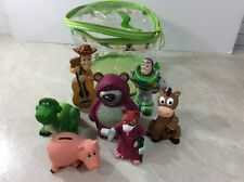 Disney Toy Story Figures with Carrying Bag 2014 Pixar Woody Buzz Hamm Lot of 7