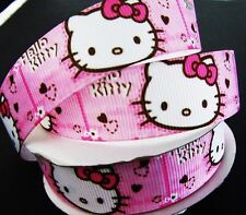 """10 yards Pink Hello Kitty Head Grosgrain 7/8"""" Ribbon/Craft/Bow/girl/Party RY-12"""