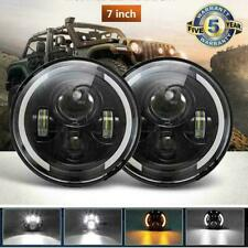"DOT Pair 7"" Round LED Headlights Halo Angle Eyes For Jeep Wrangler JK LJ TJ CJ"
