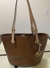 Michael Kors Signature Jet Set Brown Tote Saffiano Leather Handbag Excellent
