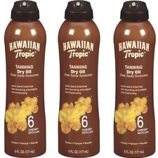 3Pack Hawaiian Tropic Tanning Dry Oil Sunscreen Spf 6 Water Resistant