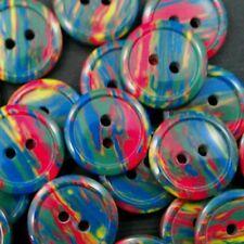 10 farbenfrohe bunt gestreifte Kunststoff Knöpfe für Kinder (5064du-18mm)