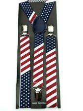 NEW USA PATRIOTIC ELASTIC BRACES CLIP ON Y-SHAPE SUSPENDERS US AMERICAN FLAG