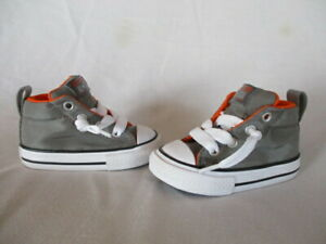 New Converse All Star High Tops Gray/Orange Sneaker Shoes  4