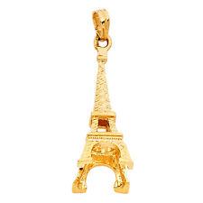 14k Yellow Gold 3d Eiffel Tower Charm Paris Pendant