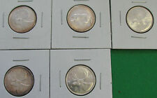1957 1962 1967 1968 Canada 25 cents silver UNC BU lot of 5 x 25 cents
