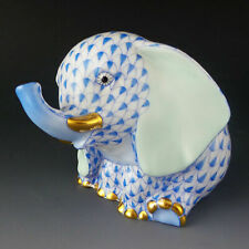Herend First Edition Porcelain Baby Elephant Sitting SVHJM 15429 Yellow Fishnet