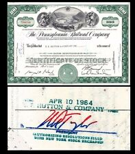 Broker Owned Stock Certificate: EF Hutton & C0, payee: Pennsylvania RR, issuer