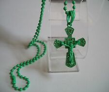 Green Painted Finish  CZ CROSS/JESUS  Pendant with Complementary  Chain