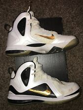 LEBRON 9 P.S. ELITE 516958-100 HOME WHITE-METALLIC GOLD-BLACK  MENS SIZE 45 / 11